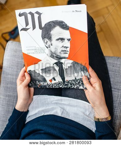 Paris, France - Jan 2, 2019: Woman Reading M Le Magazine Du Monde With Controversial Cover Featuring