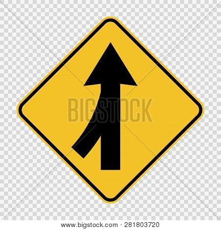 symbol  Lanes merging left sign on transparent background poster
