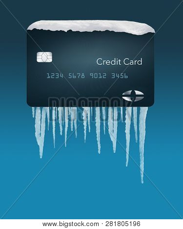 A Credit Card With Snow On Top And Icicles Below Illustrates The Idea Of A Credit Freeze On A Credit