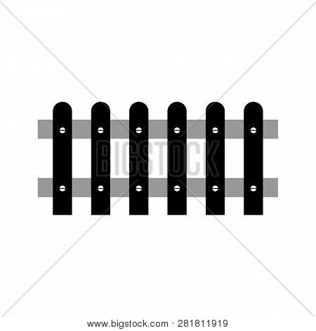 Wooden Fence Isolated On White Background. Farm Fence Vector Illustration. Boards Fence Wood Silhoue