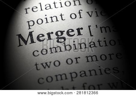 Fake Dictionary, Dictionary definition of the word merger. including key descriptive words. poster