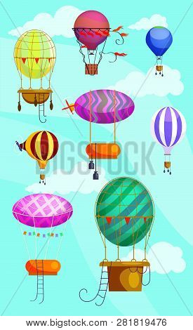 Hot Air Balloon Icons. Set Of Line Icons. Balloon, Blimp, Dirigible. Sky Concept. Illustrations Can