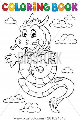 Coloring Book Chinese Dragon Topic 1 - Eps10 Vector Picture Illustration.