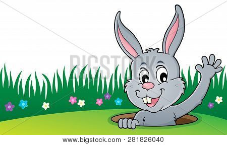 Lurking Easter Bunny Topic Image 4 - Eps10 Vector Picture Illustration.