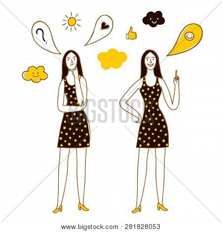 Doodle Woman Thinking And Having An Idea. Question And Answer Cartoon Illustration For Your Design.
