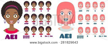 Cartoon Talking Woman Expressions