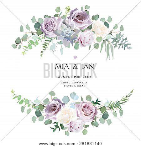 Dusty Violet Lavender, Creamy And Mauve Antique Rose, Purple Pale Flowers, Succulent Vector Design W