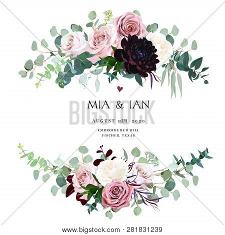Dusty Pink, Creamy And Mauve Antique Rose, Pale Flowers Vector Design Wedding Bouquets. Eucalyptus,