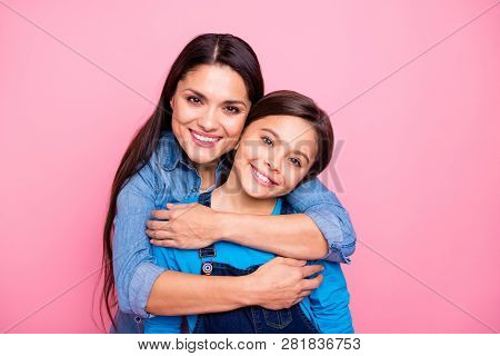 Close-up Portrait Of Two Nice Cute Pretty Trendy Stylish Lovely Attractive Cheerful Positive Dreamy