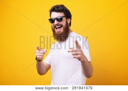 Hey You!you Cool Man! Bearded Man, In Sunglasses Pointing Finger And Looking At Camera