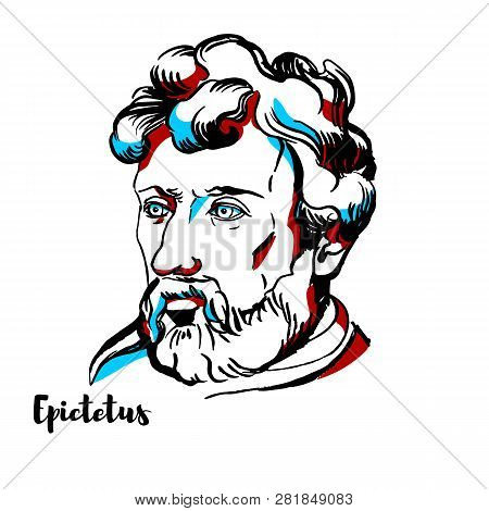 Epictetus Engraved Vector Portrait With Ink Contours. Greek Stoic Philosopher.