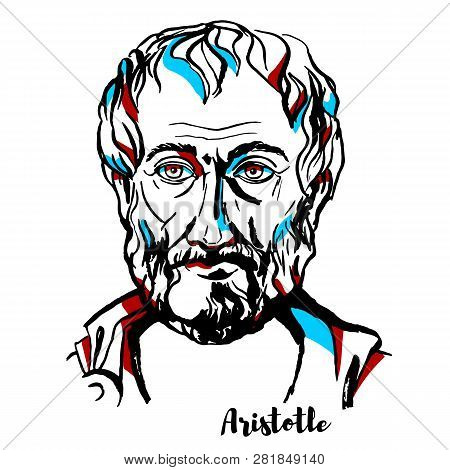Aristotle Engraved Vector Portrait With Ink Contours.  Ancient Greek Philosopher And Scientist Born
