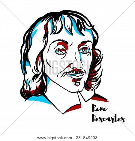 Rene Descartes Engraved Vector Portrait With Ink Contours. French Philosopher, Mathematician, And Sc