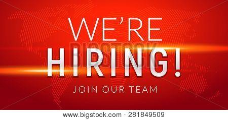 We Are Hiring Career Employee Message Background. Employment Hiring Job Recruitment Concept Banner.