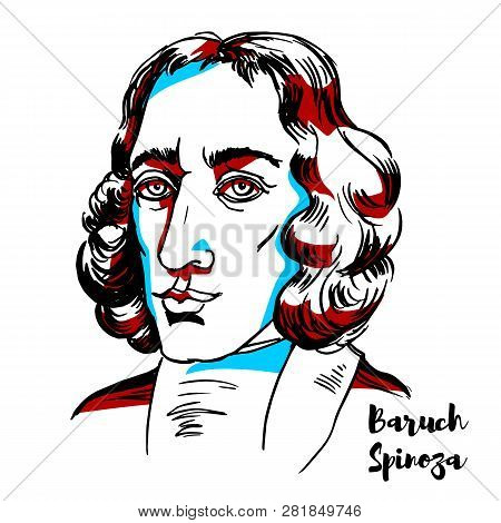 Baruch Spinoza Engraved Vector Portrait With Ink Contours. Philosopher Of Portuguese Sephardi Origin