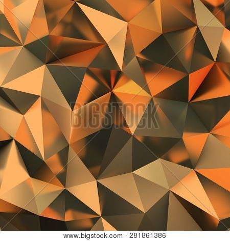3d Golden Polygonal Background. 3d Image. Render.