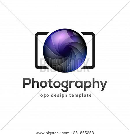 Photography Logo Template Modern Vector Creative Symbol. Shutter Lens Camera Icon Design Element.