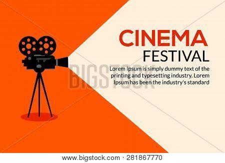 Cinema Movie Poster Design. Vector Film Camera Background Retro Brochure Cinema Illustration.