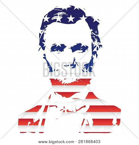 Silhouette Of Abraham Lincoln From The Texture Of The National Flag Of The United States