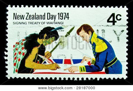 NEW ZEALAND - CIRCA 1974: A stamp printed in New Zealand shows signing treaty of Waitangi, circa 1974