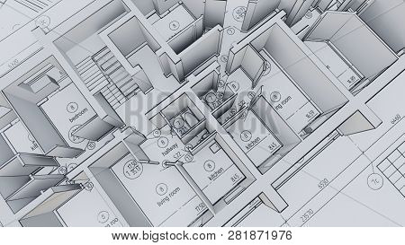 Built Walls Of A House On Construction Drawings. 3d Illustration