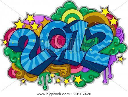 Ilustração com um Doodle com tema de ano novo