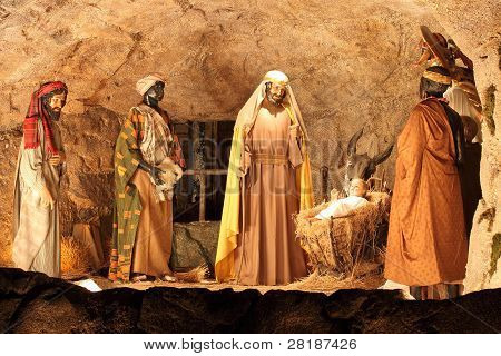 Three Magi and Jesus Christ scene