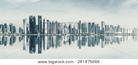Futuristic Urban Skyline Of Doha, Qatar. Doha Is The Capital And Largest City Of The Arab State Of Q