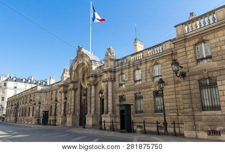 View Of Entrance Gate Of The Elysee Palace From The Rue Du Faubourg Saint-honore. Elysee Palace - Of