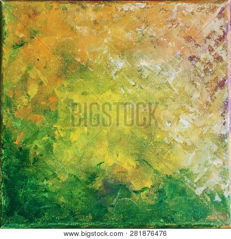 Background Painting On Canvas In Yellows, Blues, Greens And Magenta