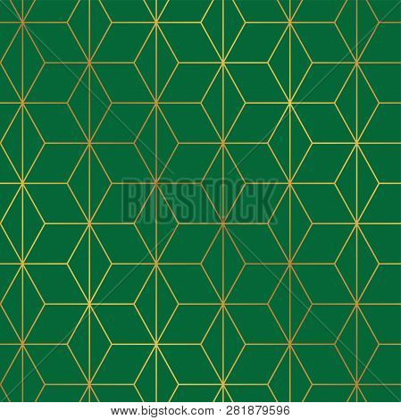 Seamless Christmas Green And Gold Wrapping Paper Pattern. Christmas Lattice Trellis Pattern Backgrou