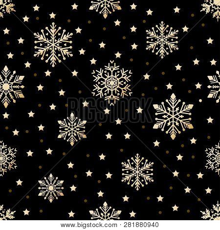 Snow Pattern On Black Background. Vector Illustration.