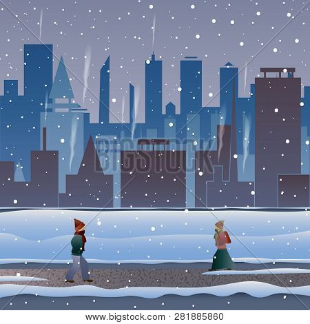 City In The Snow. People Go Through A Snowstorm Down The Street. Anomal Frosts.