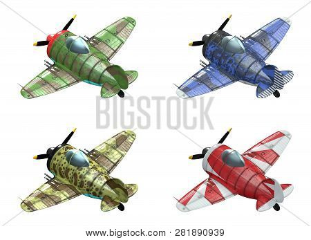 3d Model Of An Stylized Cartoon Oldschool Single Engine Fighter Aircraft In Different Paint Schemes.