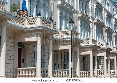Traditional british detached houses seen in Notting Hill, London poster