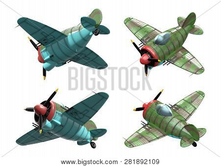 3d Model Of An Stylized Cartoon Oldschool Single Engine Fighter Aircraft. Perspective View. Isolated