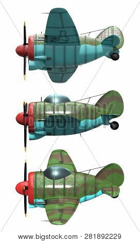 3d Model Of An Stylized Cartoon Oldschool Single Engine Fighter Aircraft. Side View. Isolated On Whi