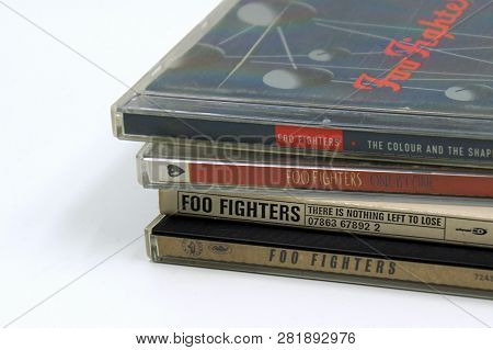 Amsterdam, The Netherlands - Febuari 2, 2019: Compact Disc (cd) Albums American Rock Band Foo Fighte