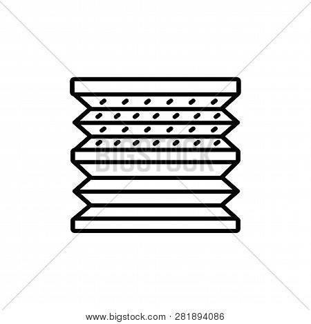 Black & White Vector Illustration Of Double Pleated Shades Blinds. Line Icon Of Window Horizontal Cu