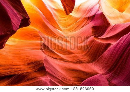 Beautiful View Of Antelope Canyon Sandstone Formations In Famous Navajo Tribal National Park Near Pa