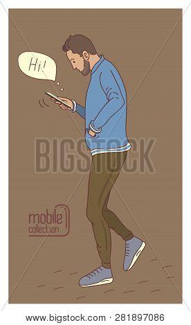 Man Using A Smartphone. Flat Design Cartoon. Talk To Each Other Using A Smartphone. Flat Cartoon Vec
