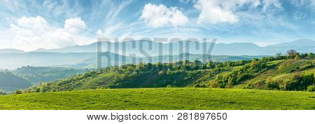 Panorama Of Beautiful Countryside Of Romania. Sunny Afternoon. Wonderful Springtime Landscape In Mou