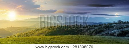 Day And Night Time Change Above Panorama Of Romania Countryside. Wonderful Springtime Landscape In M