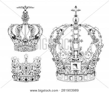 Set Of Crowns. Royal Crown. State Regales. Sketch Collection