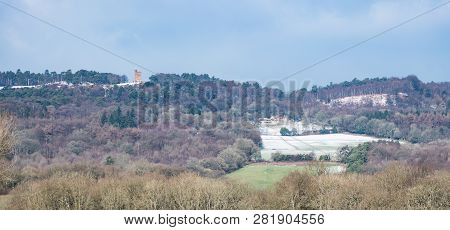 Leith Hill, Surrey, Uk - February 02 2019: View Of Leith Hill Taken From Its South Side On A Cold Wi