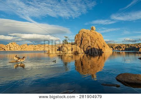 The Scenic Landscape Of Watson Lake Prescott Arizona