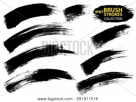 Vector Large Set Different Grunge Brush Strokes. Large Set Different Grunge Brush Strokes. Dirty Art