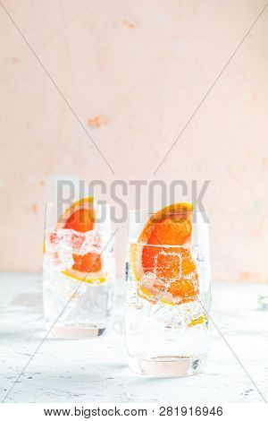 Grapefruit Gin And Tonic Selection Drink Alcohol Cocktail Or Detox Water, Refreshing Drink With Ice,