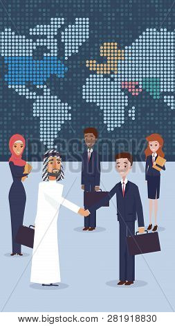 Vector Group Business People Standing In Office. Flat Illustration An Arab Man Nationality Welcomes