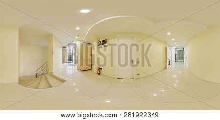 Panoramic Shot Of A 360 Degree Corridor In A Hospital 360 Degrees